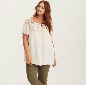 Torrid Floral Embroidered Gauze Blouse White 3X